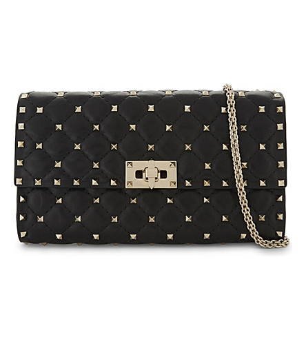 VALENTINO Rockstud leather cross-body bag (Black