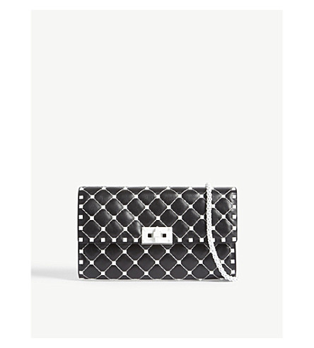 VALENTINO Free Rockstud quilted leather cross-body bag (Black