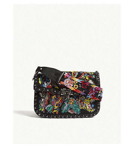VALENTINO Rockstud floral shoulder bag (Black