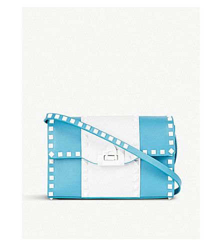 VALENTINO Free Rockstud small leather cross-body bag (Cerulean