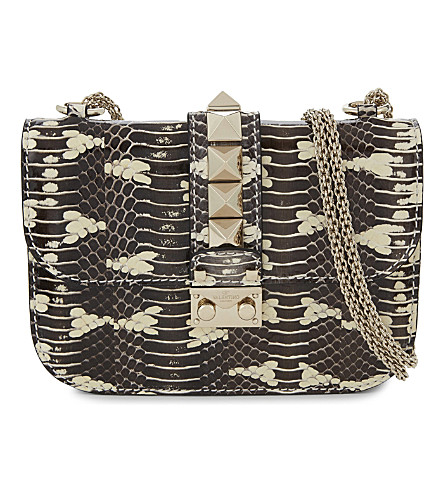 VALENTINO Lock small Rockstud snake-skin shoulder bag (Stone white