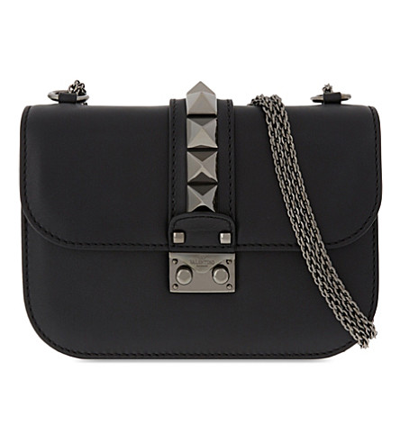 VALENTINO Studded leather pushlock shoulder bag (Black