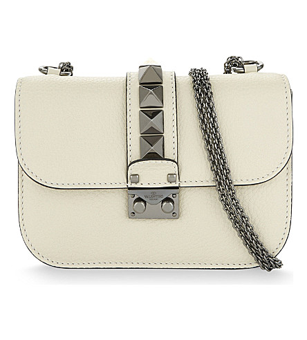 VALENTINO Lock stud small leather shoulder bag (Ivory