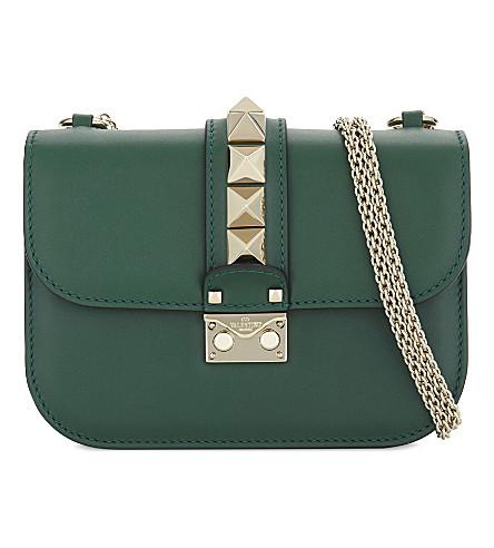 VALENTINO Rockstud leather cross-body bag (Emerald+green