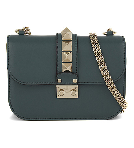VALENTINO Rockstud lock small leather shoulder bag (Gada+green