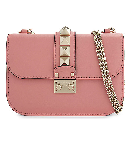 VALENTINO Rockstud lock small leather shoulder bag (Paradise+rose