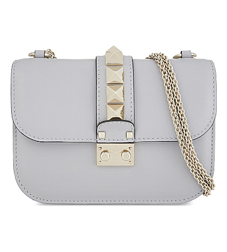 VALENTINO Rockstud lock small leather shoulder bag (Pastel+grey