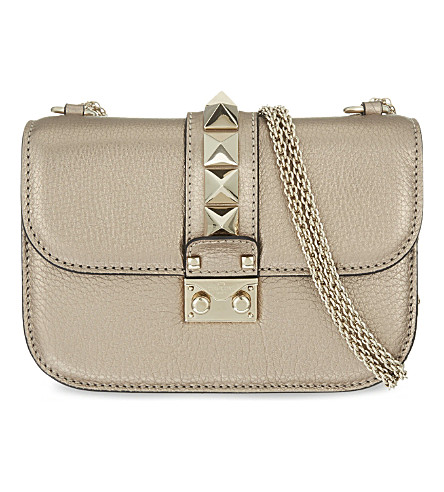 VALENTINO Lock stud leather shoulder bag (Rose+gold