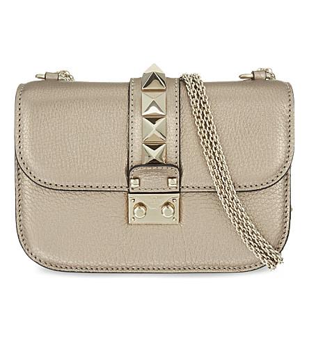 VALENTINO Lock stud leather shoulder bag (Rose+gold