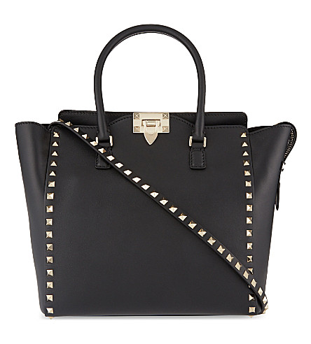 VALENTINO Rockstud medium leather tote (Black