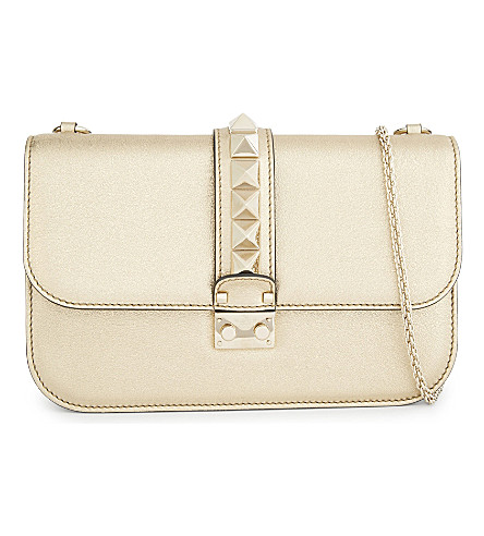VALENTINO Metallic leather cross-body bag (Gold
