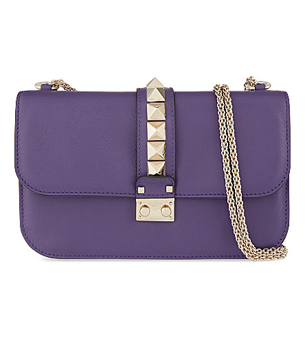 VALENTINO Rockstud leather cross-body bag (Purple