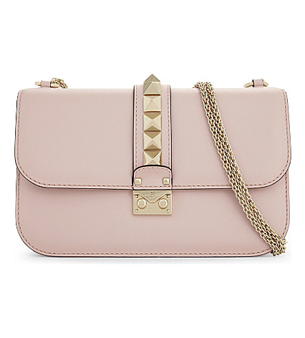 VALENTINO Rockstud leather cross-body bag (Water+rose
