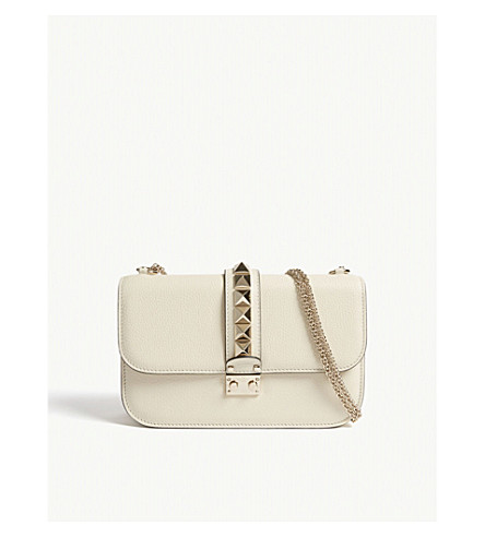VALENTINO Studded leather shoulder bag (Light+ivory