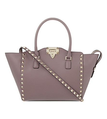 VALENTINO Rockstud small leather tote (Dark+mauve
