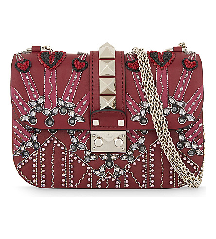 VALENTINO Embellished leather cross-body bag (Red