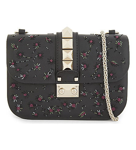 VALENTINO Small leather flower embellished cross-body bag (Black