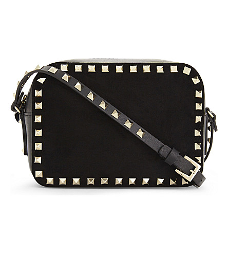 VALENTINO Rockstud suede cross-body bag (Black