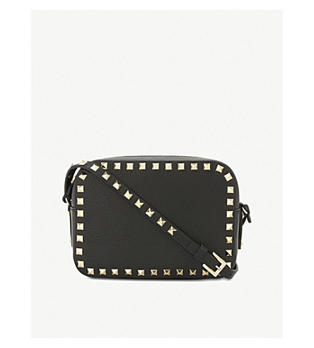 VALENTINO Rockstud leather camera cross-body bag (Black