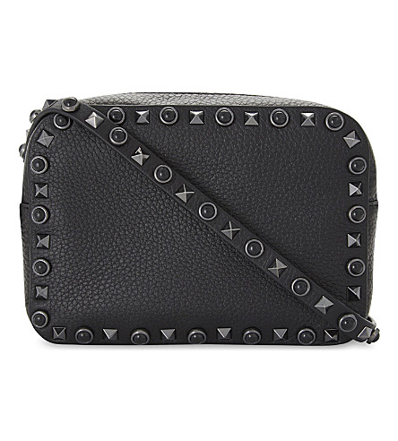 VALENTINO Rockstud Noir leather cross-body camera bag (Black