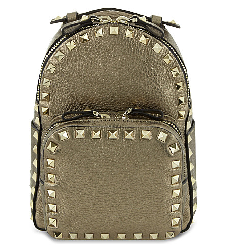 VALENTINO Rockstud metallic leather mini backpack (Silver+metallic