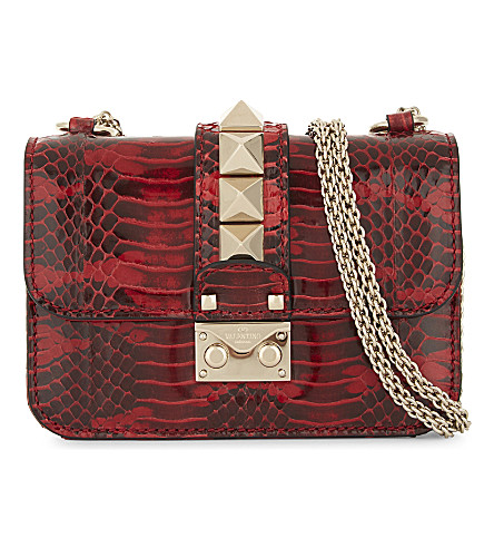 VALENTINO Mini lock snake mini leather shoulder bag (Red