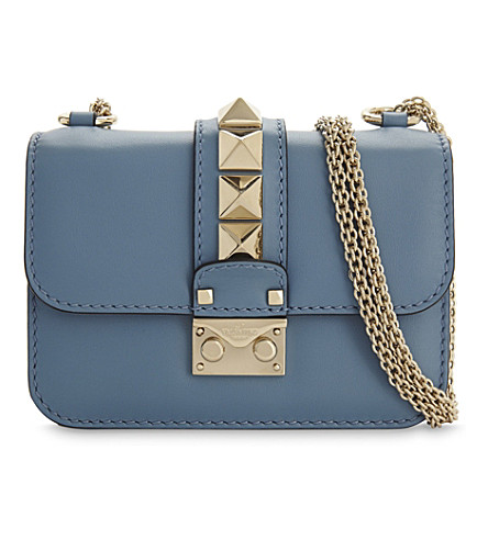 VALENTINO Rockstud Lock mini leather shoulder bag (Grey+sky