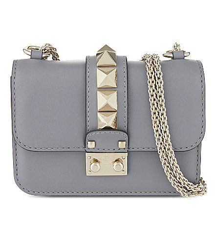VALENTINO Rockstud lock mini leather shoulder bag (Light+stone+blue