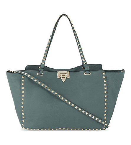 VALENTINO Rockstud medium grained leather tote (Gada+green