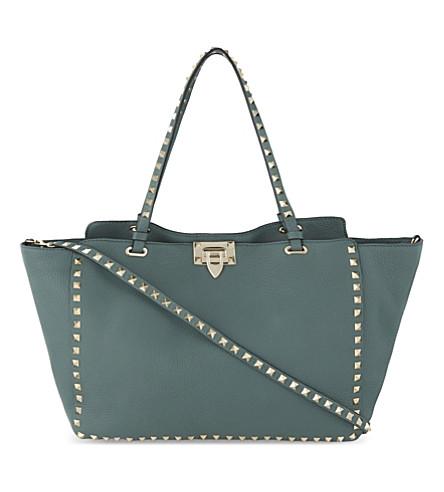 VALENTINO Rockstud medium grained leather tote (Gada+green