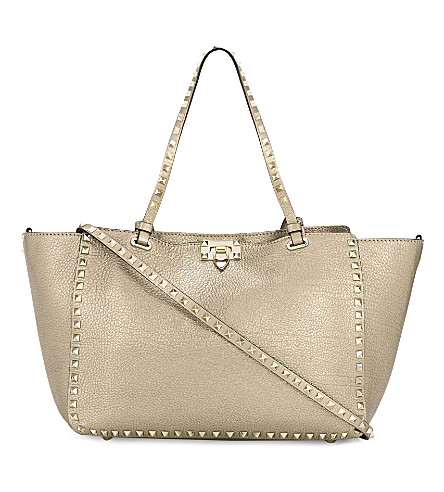 VALENTINO Rockstud medium leather tote bag (Rose+gold