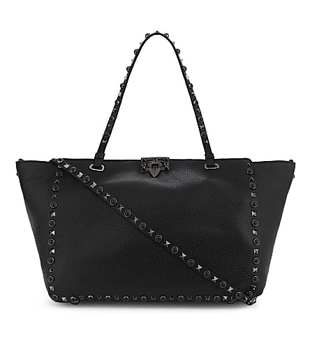 VALENTINO Noir Rockstud medium grained leather tote (Black