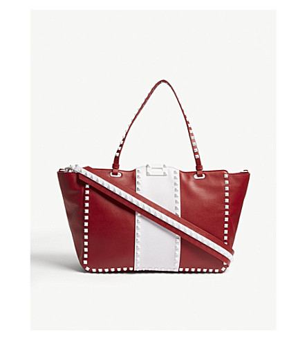 VALENTINO Rockstud Free medium leather tote (Rosso+v