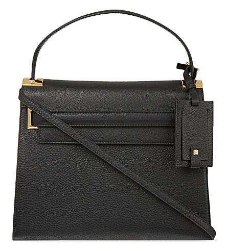 VALENTINO My Rockstud grained leather satchel (Black