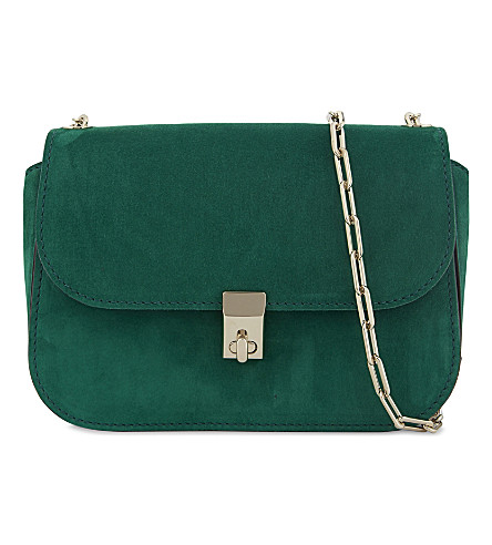 VALENTINO Panther suede shoulder bag (Emerald+green