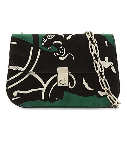 VALENTINO Panther print suede shoulder bag (Emerald+green