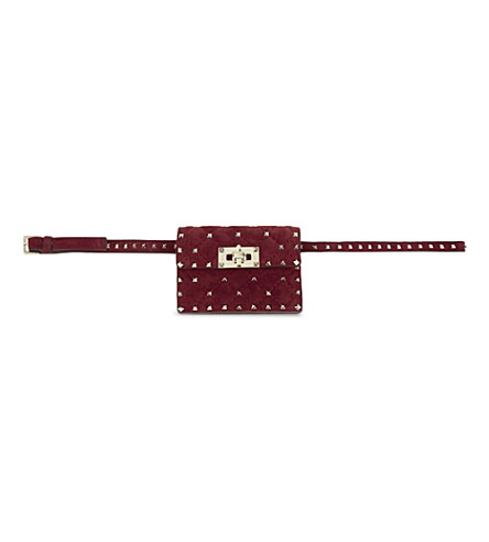 VALENTINO Quilted tiny suede cross-body bag (Rubino