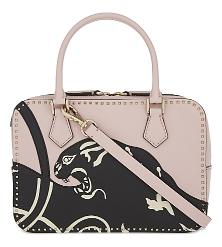 VALENTINO Rockstud panther leather shoulder bag (Water+rose