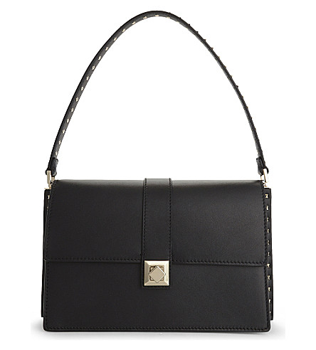 VALENTINO Side stud medium leather shoulder bag (Black