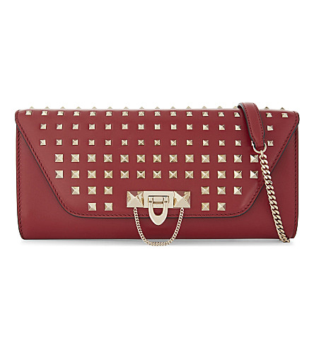 VALENTINO Demilune studded leather crossbody bag (Red