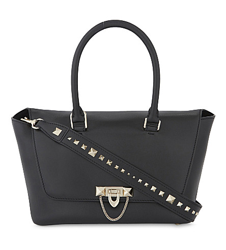 VALENTINO Leather oblong tote bag (Black