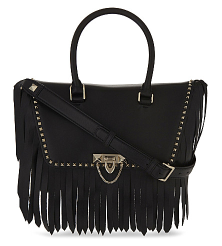 VALENTINO Demilune fringed leather tote bag (Black