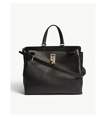 VALENTINO Piper grained leather shoulder bag (Black