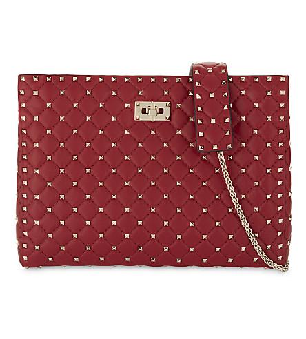 VALENTINO Rockstud quilted leather shoulder bag (Red