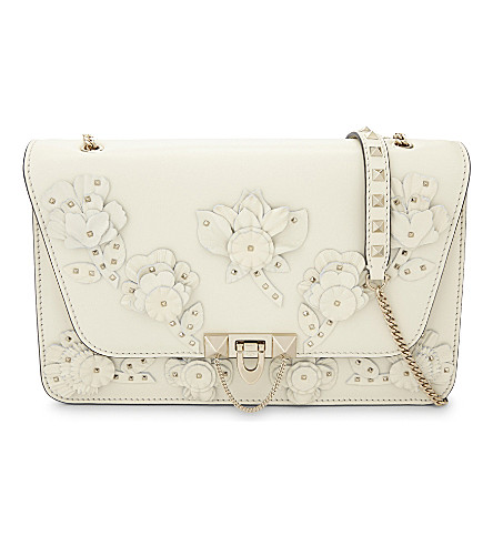 VALENTINO Demi lune medium leather cross-body bag (Ivory