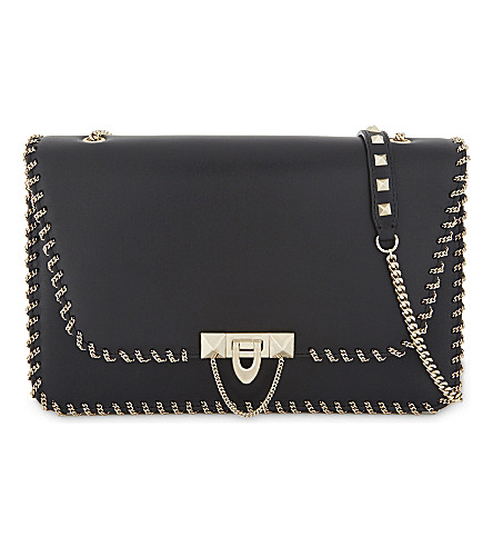 VALENTINO Demilune medium leather shoulder bag (Black