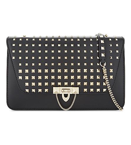 VALENTINO Demiluna medium Rockstud leather shoulder bag (Black