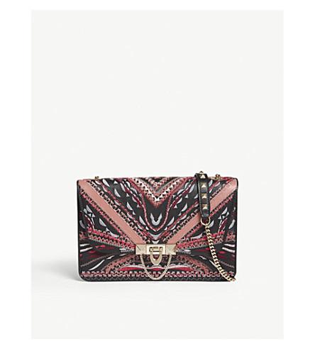 VALENTINO Demi Luna embroidered leather shoulder bag (Blk+purple