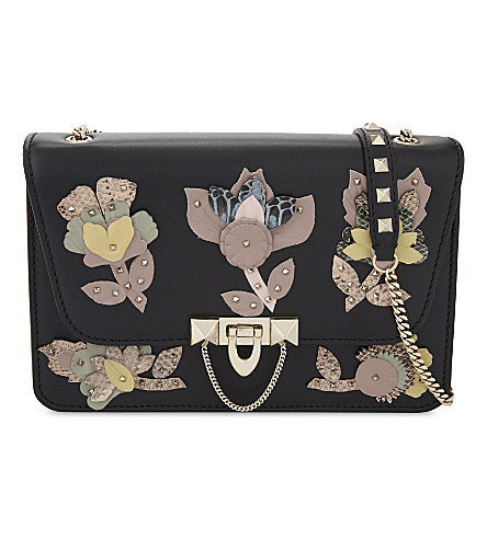 VALENTINO Demi lune small leather floral cross-body bag (Black