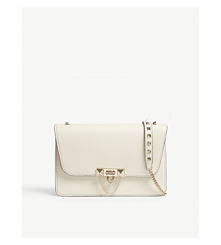 VALENTINO Demi Luna grained leather shoulder bag (Light+ivory